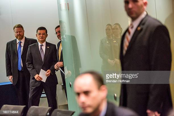 Veterans Affairs Secretary Eric Shinseki and Defense Secretary Leon Panetta wait to statements to the media following a meeting on February 5 2013 in...