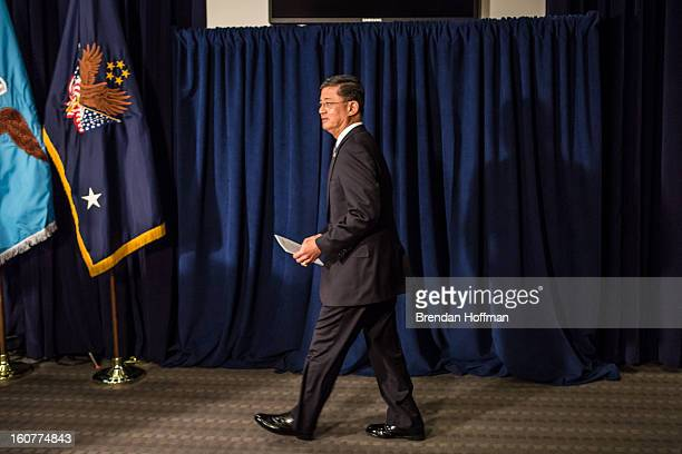 Veterans Affairs Secretary Eric Shinseki arrives to make a statement to the media following a meeting with Defense Secretary Leon Panetta on February...