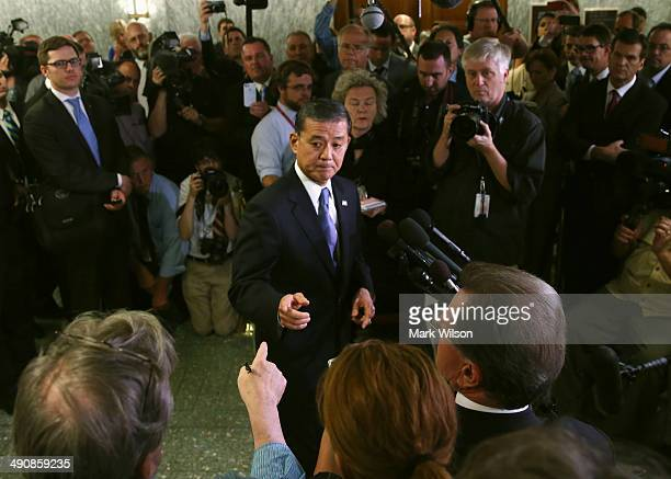 S Veterans Affairs Secretary Eric Shinseki speaks to the media after appearing before a Senate Veterans' Affairs Committee hearing on wait times...