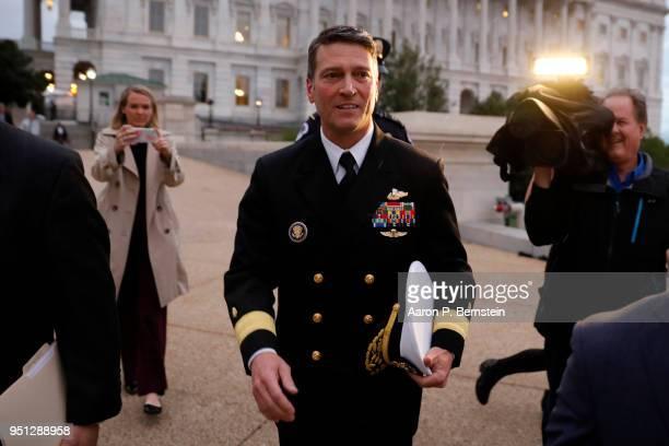 Veterans Affairs Secretary Nominee Dr Ronny Jackson departs the US Capitol April 25 2018 in Washington DC Jackson faces a tough confirmation fight...