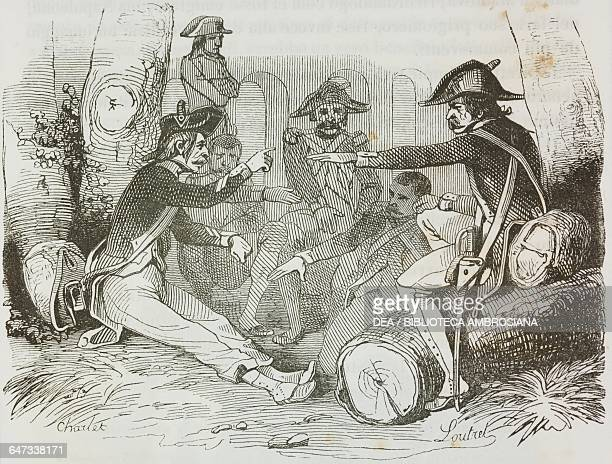 Veterans agreeing to give Napoleon the rank of corporal following the Battle of Lodi illustration from the first Italian edition of The Memorial of...