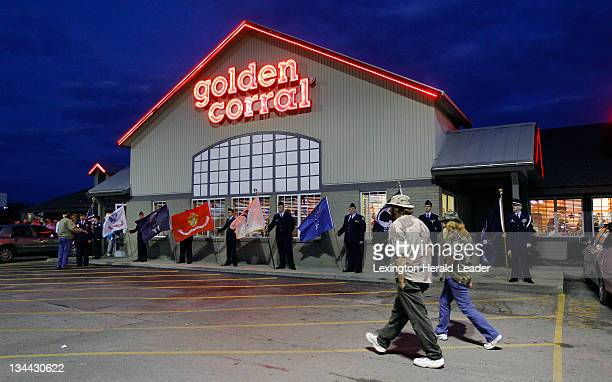 Veterans and their families arrive for a free military appreciation dinner for veterans held at the Golden Corral in London Kentucky Monday November...