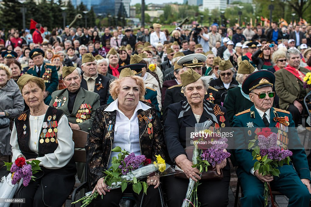 Veterans attend a ceremony to commemorate victims of World War II on the Victory Day holiday on May 9, 2014 in Donetsk, Ukraine. Tensions in Eastern Ukraine are high after pro-Russian activists seized control of at least ten cities and ahead of the Victory Day holiday and a planned referendum on greater autonomy for the region.