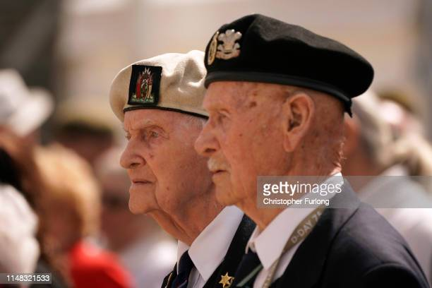 Veterans attend a commemoration service on the 75th anniversary of the DDay landings on June 6 2019 in Arromanches Les Bains France June 6th is the...