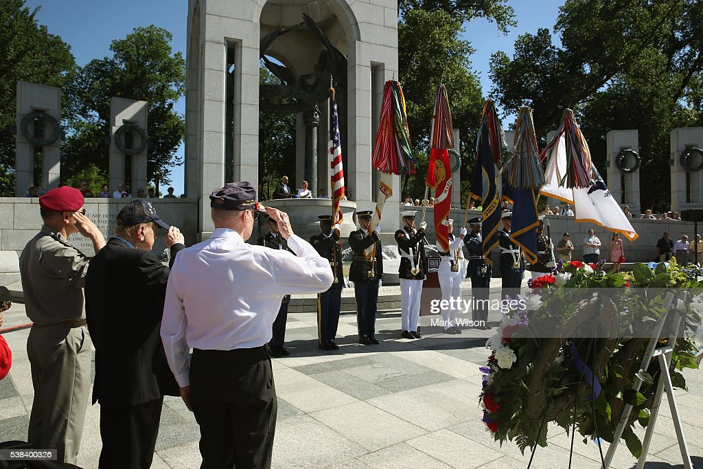 Veterans attend a D-Day anniversary wreath laying ceremony at the National World War II Memorial on June 6, 2016 in Washington, DC. Today marks the the 72nd anniversary of the 1944 Allied invasion at Normandy.