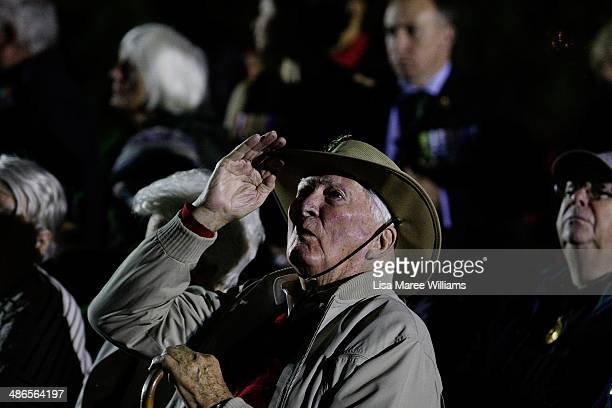 Veterans attend the Anzac Hill Dawn Service on April 25 2014 in Alice Springs Australia The Ghan commemorates the sacrifices of Australian servicemen...