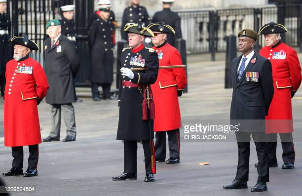 Veterans attend the Remembrance Sunday ceremony at the Cenotaph on Whitehall in central London, on November 8, 2020. - Remembrance Sunday is an...
