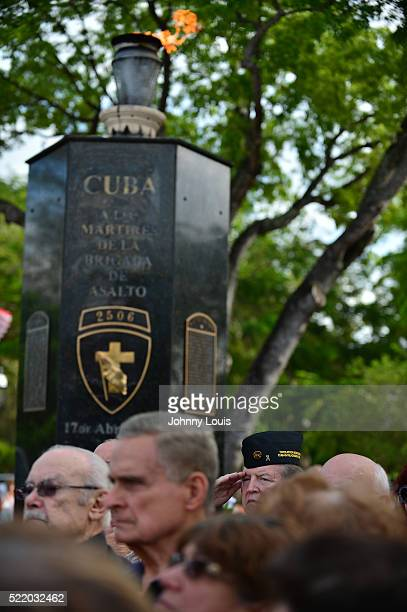 Veterans attends the Bay of Pigs invasion 55th anniversary honoring at the Brigade 2506 Monument on April 17 2016 in Miami Florida