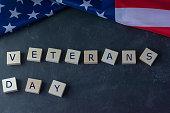 veterans day american flag inscription black