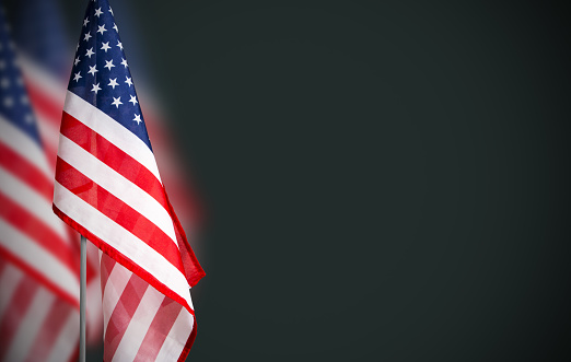 Veterans day concept of USA flag on green background 873242650
