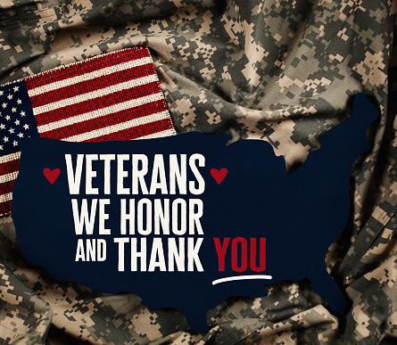 Veterans Day in America. American flag with military uniform 871413908