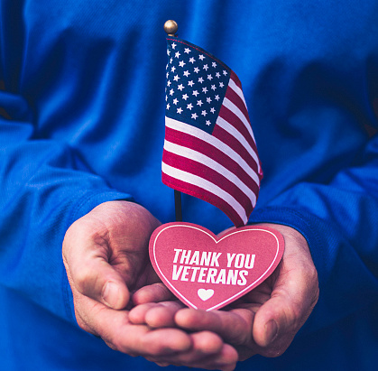 Veterans Day in America. Male hands holding thank you message 868717200
