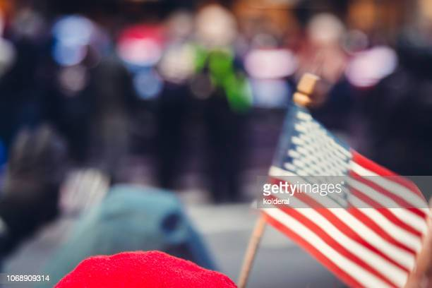 veterans day parade on fifth avenue - veterans day parade stock photos and pictures