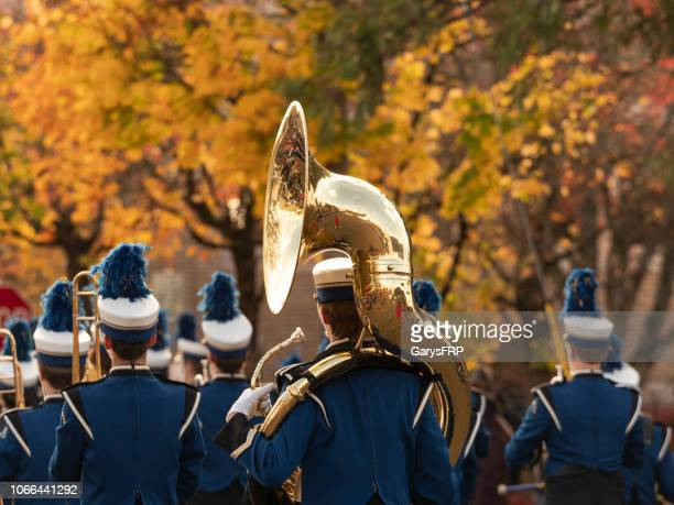 veterans day parade oregon albany high school marching band tuba - parade stock pictures, royalty-free photos & images