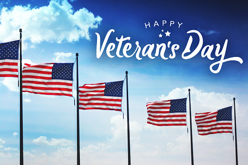 Veteran's Day Typography Over Flags Background 861394756