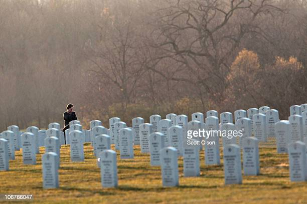 Veterans' Day visitors to Abraham Lincoln National Cemetery stops to reflect at a grave while nearby a memorial service for US Army PFC Andrew Meari...