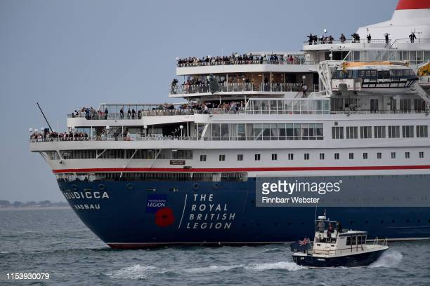 Veterans depart Portsmouth on MV Boudicca to Normandy retracing the voyage they made across the Channel 75 years ago on June 05 2019 in Portsmouth...