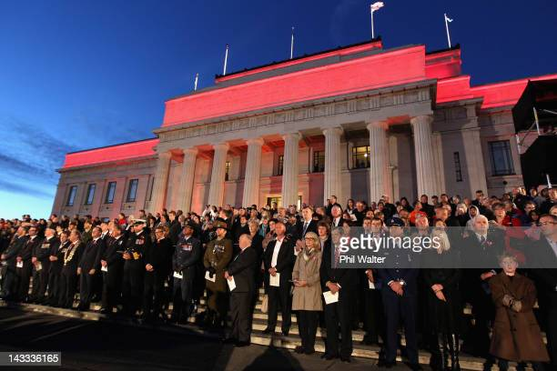 Veterans dignitaries and members of the public stand around the Cenotaph at the Auckland War Memorial Museum during the ANZAC Day Dawn Service on...