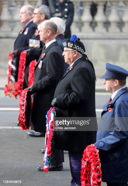 Veterans during the National Service of Remembrance at The Cenotaph on November 08, 2020 in London, England. Remembrance Sunday services are still...