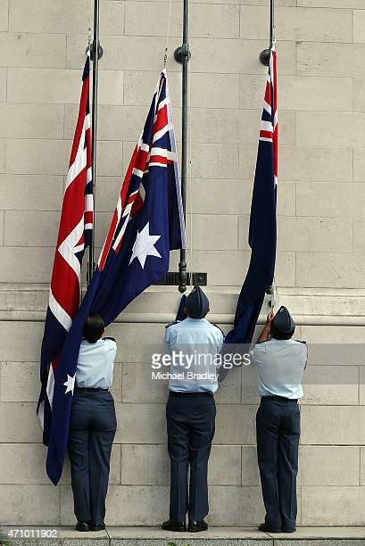 Veterans families officials and members of the Armed Services attend the Civic Service as part of Anzac Day at the Auckland Museum on April 25 2015...