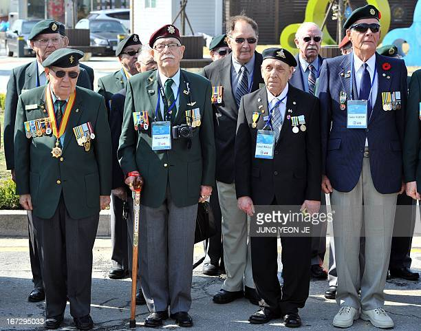 Veterans from Canada who fought alongside South Korea during the 195053 Korean War visit a participation memorial in Gapyeong 55 kilometers northeast...