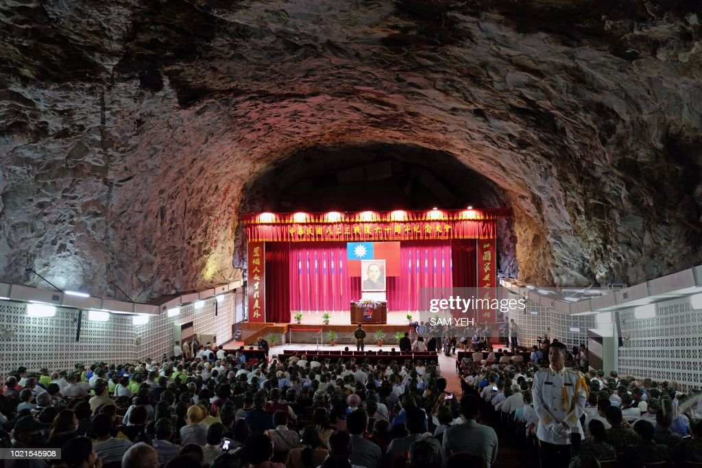 Veterans gather at a cave auditorium during the 60th anniversary of the '823 bombardment' in Kinmen on August 23, 2018. - The tiny Taiwanese island of Kinmen on August 23 marked the 60th anniversary of a Chinese artillery attack that killed hundreds of people, as cross-strait tensions rise once more.