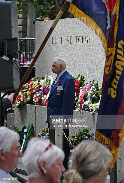 Veterans gather at the Cenotaph to honour Australian soldiers killed in battle during a ceremony marking 90 years since the end of World War I in...