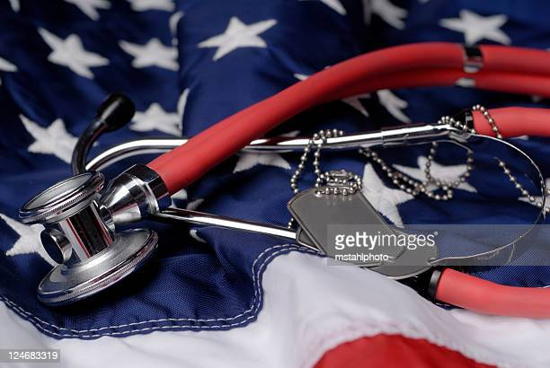 veterans healthcare - military flags stock photos and pictures