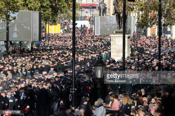 Veterans line the streets of Whitehall at the annual Remembrance Sunday memorial at The Cenotaph on November 10 2019 in London England The armistice...