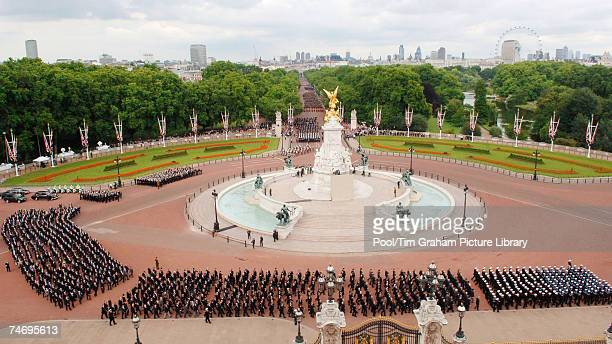 Veterans march down The Mall to Buckingham Palace in the Falklands Veterans Parade held to commemorate 25 years since the end of the Falklands War on...