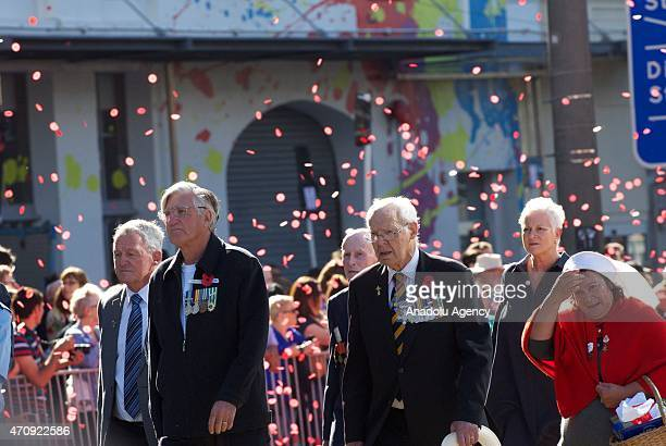 Veterans march during the Anzac Day eve street parade on April 24 2015 in Wellington New Zealand The parade was organized to remember the 100th...