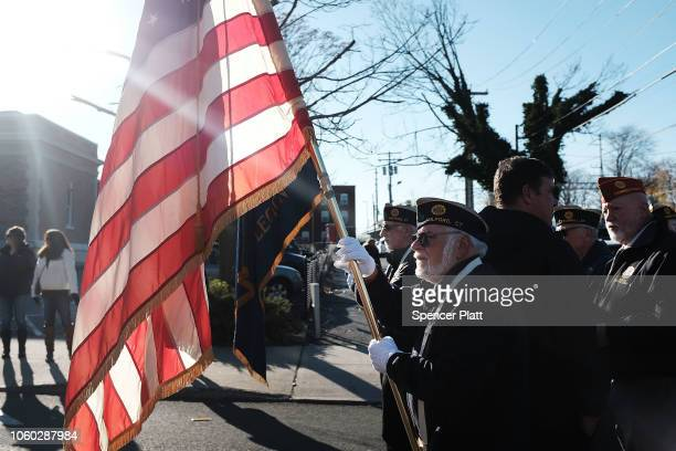 Veterans march in the Veterans Day Parade on November 11 2018 in Milford Connecticut Across the country Americans are observing Veterans Day with...