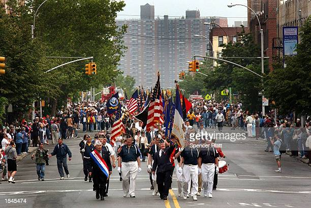 Veterans march on the street May 27 2002 during the 135th Kings County Memorial Day Parade in the borough of Brooklyn in New York City The Kings...