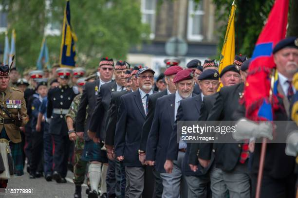 Veterans march on the street of Stirling during the event Stirling shows its support of the UK Armed Forces as part of the UK Armed Forces Day events...