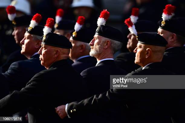 Veterans march past the Cenotaph during the annual Remembrance Sunday memorial on November 11 2018 in London England The armistice ending the First...