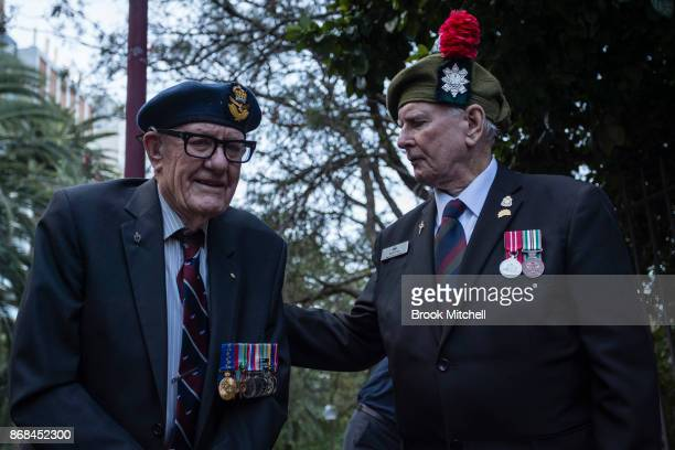 Veterans Norton Duckmanton and Kevin Kram during commemorations for the centenary of the Australian Light Horse Charge at the Battle of Beersheba on...