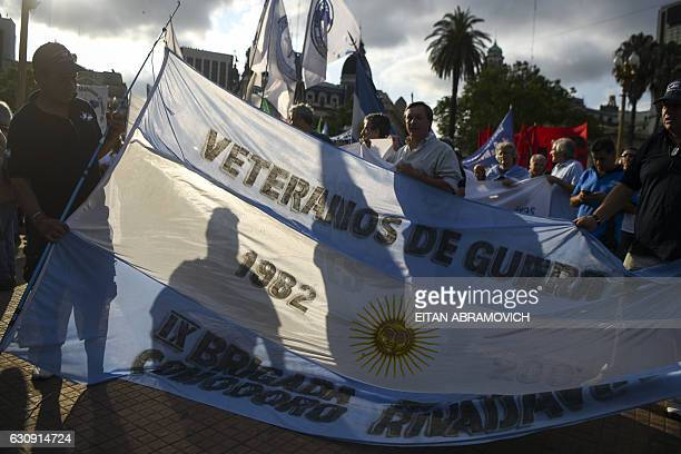 Veterans of the 1982 Falklands War between the United Kingdom and Argentina demonstrate at Plaza de Mayo Square in Buenos Aires on January 3 during...