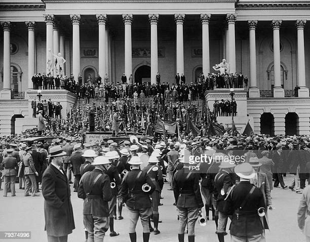 Veterans of World War I gather on Capitol Hill in Washington to demand the immediate payment of a cash bonus promised to them eight years before 8th...