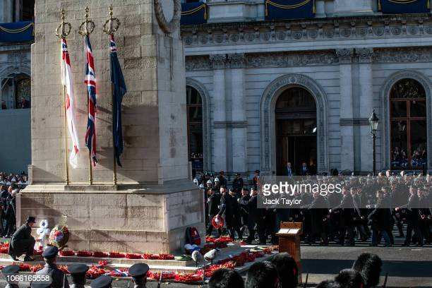 Veterans parade following the Remembrance Sunday memorial at the Cenotaph on Whitehall on November 11 2018 in London England The armistice ending the...