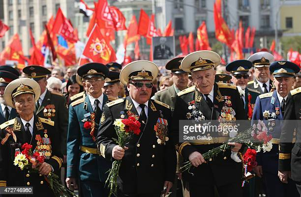 Veterans participate in a march to celebrate Victory Day as part of celebrations marking the 70th anniversary of the victory over Nazi Germany and...
