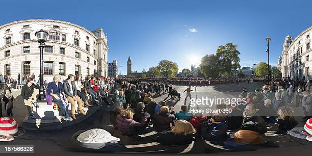 Veterans pass through Parliament Square after a wreath laying ceremony at the Cenotaph on November 10 2013 in London United Kingdom People across the...