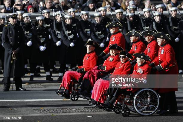 Veterans take part in the Royal British Legion's Veterans' March after the Remembrance Sunday ceremony at the Cenotaph on Whitehall in central London...