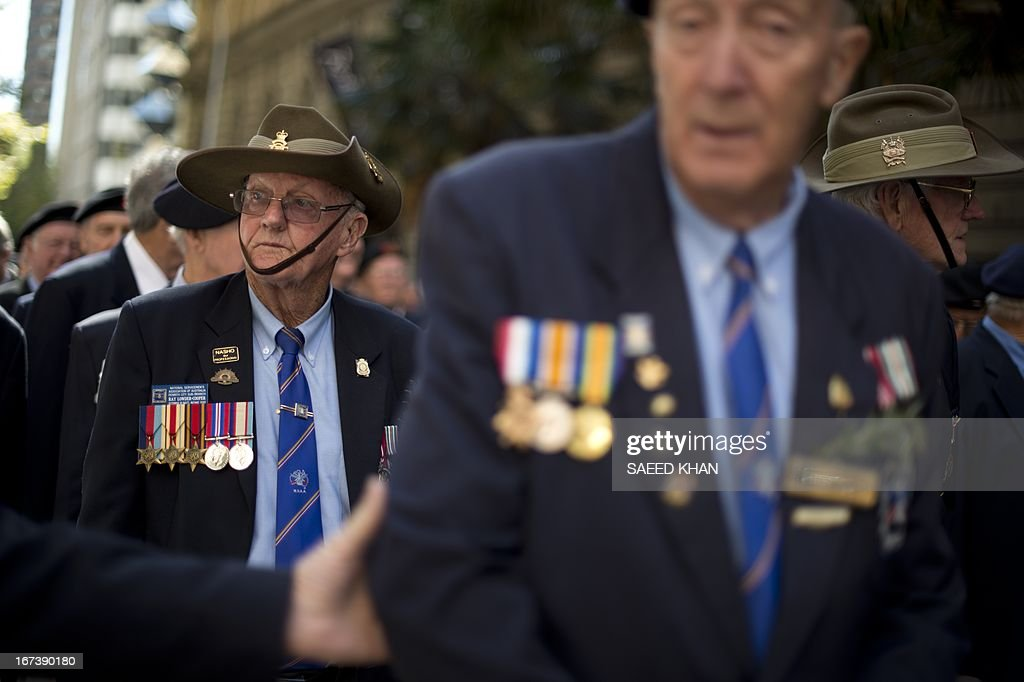Veterans wait to take part in the Anzac Day march through Sydney on April 25, 2013