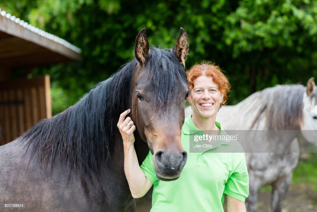 Veterinarian smiling with horses : Stock Photo