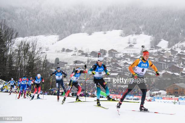 Vetle Sjaastad Christiansen of Norway Dominik Windisch of Italy Fabien Claude of France and Benedikt Doll of Germany in action competes during the...