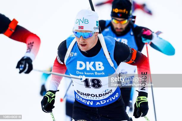 Vetle Sjaastad Christiansen of Norway in action during the IBU Biathlon World Cup Men's and Women's Mass Start on January 20, 2019 in Ruhpolding,...