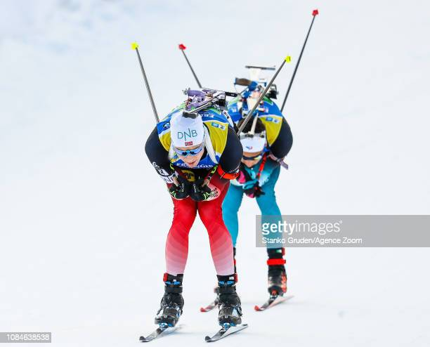 Vetle Sjaastad Christiansen of Norway takes 1st place during the IBU Biathlon World Cup Men's Relay on January 18, 2019 in Ruhpolding, Germany.