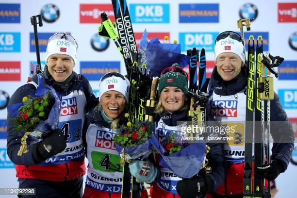 Vetle Sjaastad Christiansen Tiril Eckhoff Marte Olsbu Roeiseland and Johannes Thingnes Boe of Norway celebrate winning the gold medal after the IBU...
