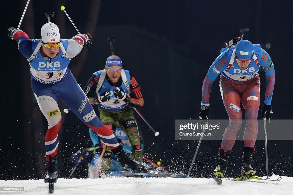 Vetle Sjastad Christiansen of Norway competes in the Men's 4x7.5km Relay during the BMW IBU World Cup Biathlon 2017 - test event for PyeongChang 2018 Winter Olympic Games at Alpensia Biathlon Centre on March 5, 2017 in Pyeongchang-gun, South Korea.
