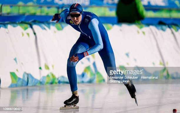 Vetle Stangeland of Norway performs in the NeoSenior Mens 3000m sprint race during the ISU Junior World Cup Speed Skating Final day 1 on February 9...